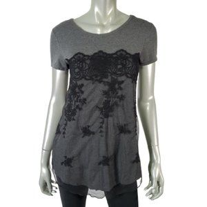 Maurices Top S Lace Front Tee Stretch Gray